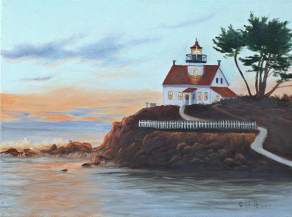 Coast Line Painting - Battery Pt. Lighthouse by Julie Peterson