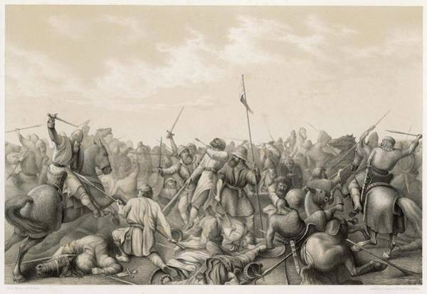 Stamford Bridge Wall Art - Drawing - Battle Of Stamford Bridge Harald by Mary Evans Picture Library