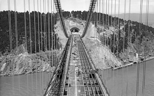 Photograph - Bay Bridge Under Construction by Underwood Archives
