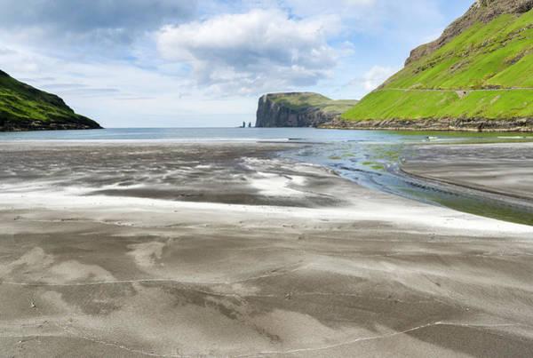 Archipelago Photograph - Beach At Tjornuvik, Sea Stacks Risin by Martin Zwick