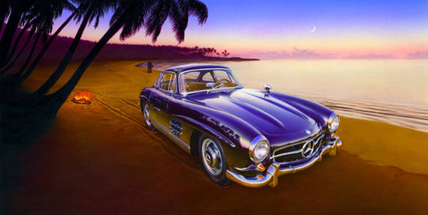 Motoring Photograph - Beach Mercedes by MGL Meiklejohn Graphics Licensing