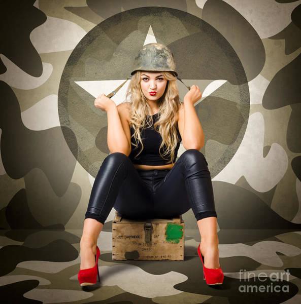 Ammo Photograph - Beautiful Army Pinup Woman On Ammo Box by Jorgo Photography - Wall Art Gallery