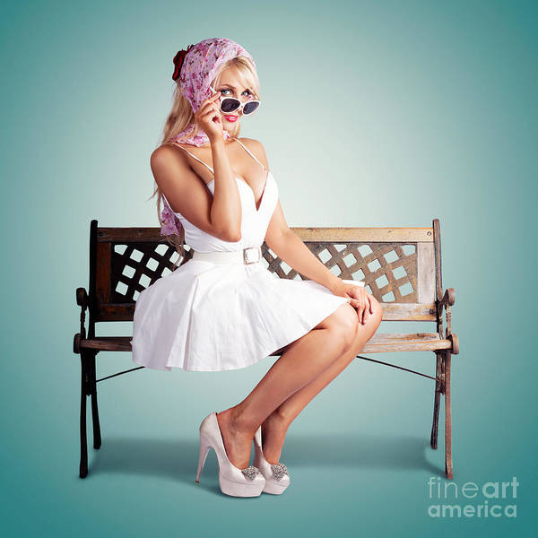 Park Bench Photograph - Beautiful Blond Woman In Retro American Fashion by Jorgo Photography - Wall Art Gallery