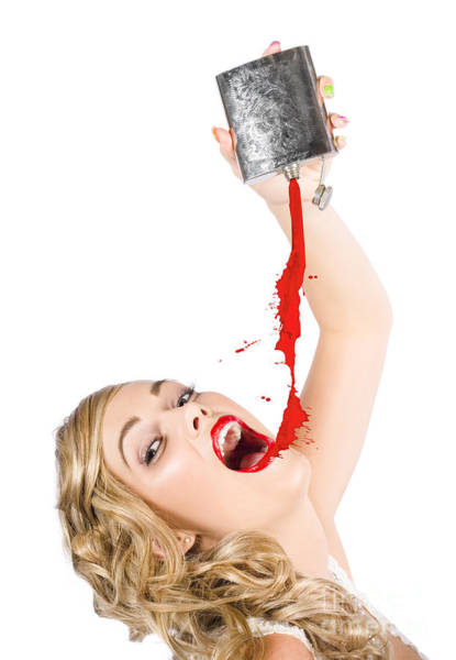 Photograph - Beautiful Blonde Make-up Artist Woman Pouring Liquid Lipstick by Jorgo Photography - Wall Art Gallery