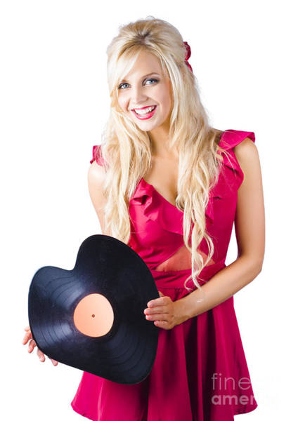 Groovy Photograph - Beautiful Blonde With Heart-shaped Record by Jorgo Photography - Wall Art Gallery