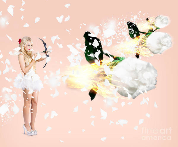 Archery Photograph - Beautiful Cupid Woman Firing Romance Arrows by Jorgo Photography - Wall Art Gallery