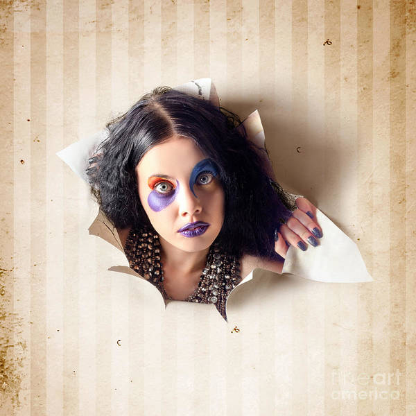 Photograph - Beautiful Female Jester Breaking Out Of Wallpaper by Jorgo Photography - Wall Art Gallery