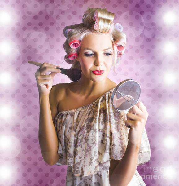 Apply Photograph - Beautiful Retro Woman Applying Makeup Cosmetics by Jorgo Photography - Wall Art Gallery