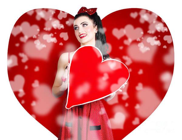 Wall Art - Photograph - Beautiful Woman Holding Blank Love Heart Sign by Jorgo Photography - Wall Art Gallery