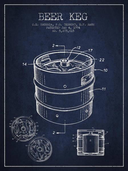 Wall Art - Digital Art - Beer Keg Patent Drawing - Green by Aged Pixel