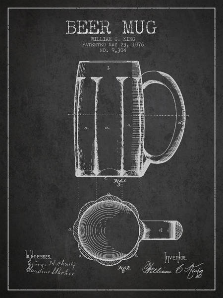 Bar Wall Art - Digital Art - Beer Mug Patent From 1876 - Dark by Aged Pixel