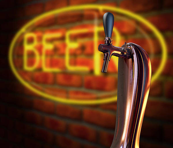 Brewery Digital Art - Beer Tap Single With Neon Sign by Allan Swart