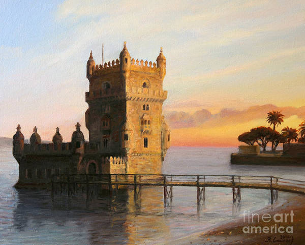 Wall Art - Painting - Belem Tower In Lisbon by Kiril Stanchev