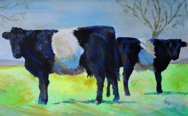 Painting - Belted Galloway Cows by Mike Jory