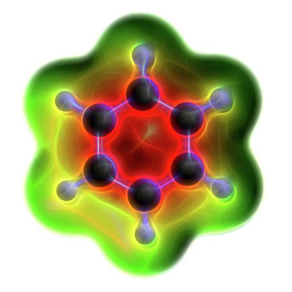 Wall Art - Photograph - Benzene Aromatic Hydrocarbon Molecule by Alfred Pasieka/science Photo Library