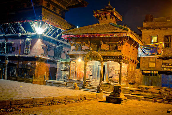 Photograph - Bhaktapur At Night In Old Town by Raimond Klavins