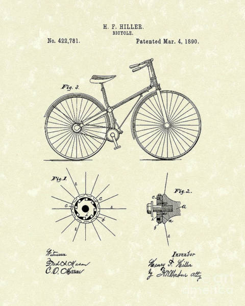 Drive Drawing - Bicycle 1890 Patent Art by Prior Art Design