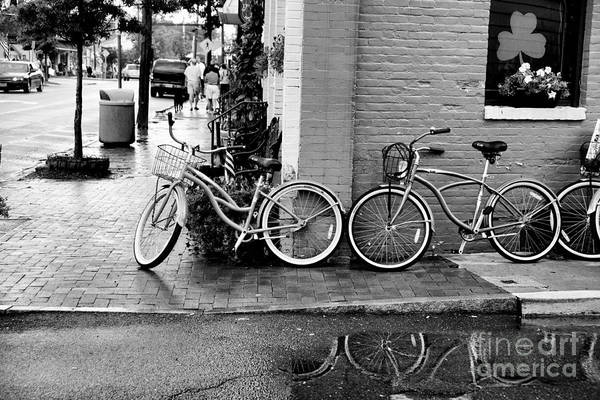 Photograph - Bicycles Parked Along The Main Street In Saint Michaels Maryland. by William Kuta