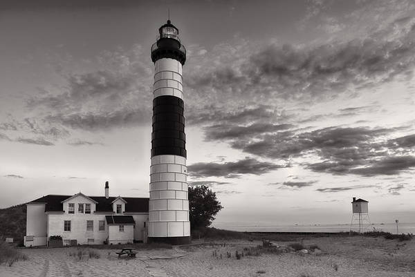 Photograph - Big Sable Point Lighthouse In Black And White by Sebastian Musial