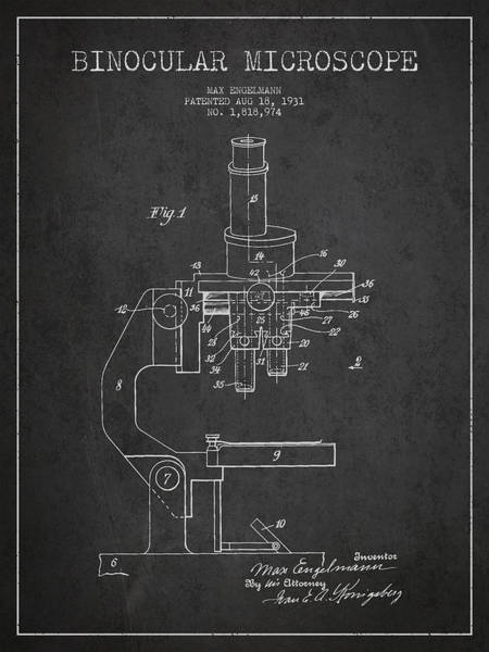 Wall Art - Digital Art - Binocular Microscope Patent Drawing From 1931 by Aged Pixel