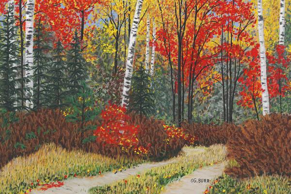 Pastel - Birch Trail by George Burr