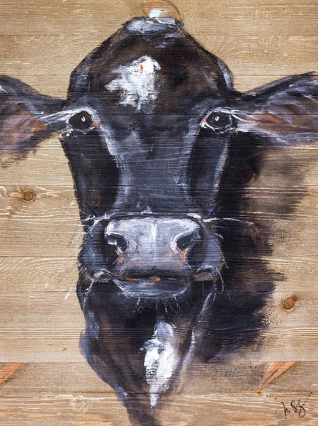 Wall Art - Painting - Black Cow by Molly Susan Strong