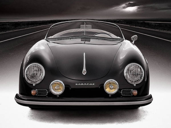 Vintage Photograph - Black Porsche Speedster by Douglas Pittman