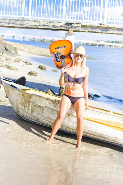 Dinghies Photograph - Blonde Female Traveling Entertainer At Beach by Jorgo Photography - Wall Art Gallery