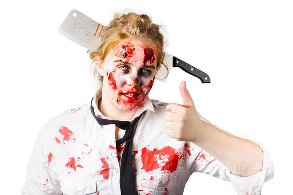 Horrible Photograph - Bloody Woman With Cleaver In Head by Jorgo Photography - Wall Art Gallery
