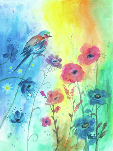 Indie Wall Art - Painting - Blue Bird And Flowers by Vickie Wade