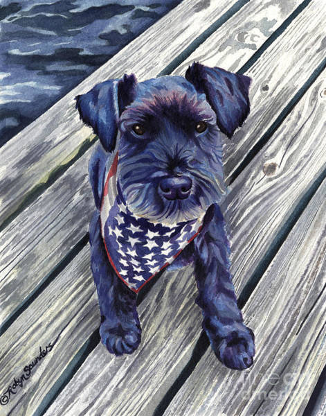 Painting - Colorful Schnauzer Dog On Pier by Robyn Saunders