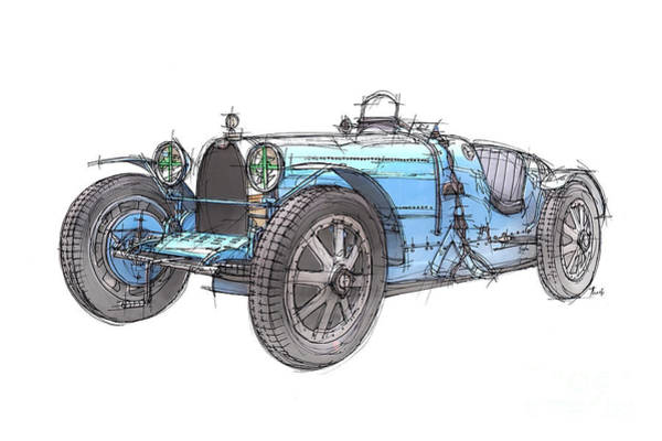 Handmade Wall Art - Drawing - Blue Bugatti by Drawspots Illustrations