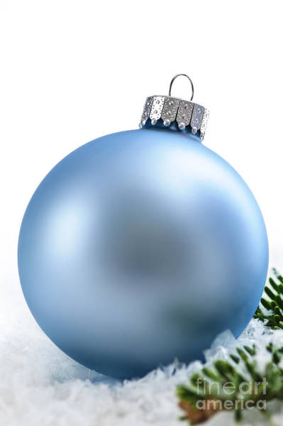 Flake Photograph - Blue Christmas Bauble by Elena Elisseeva