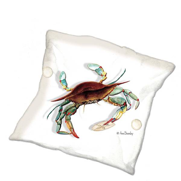 Painting - Blue Crab Pillow by Anne Beverley-Stamps