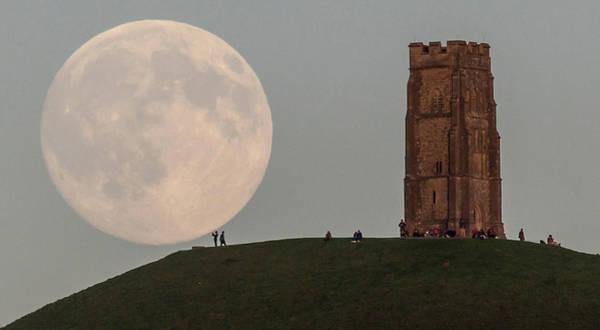 Topix Photograph - Blue Moon Rises Over Glastonbury Tor by Matt Cardy