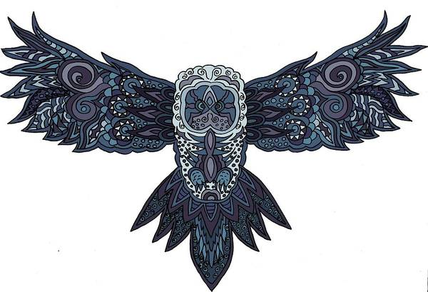 Wall Art - Digital Art - Blue Owl by Karen Elzinga
