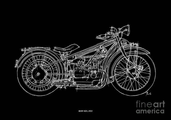 Line Drawing Painting - Bmw R32 1923 by Drawspots Illustrations