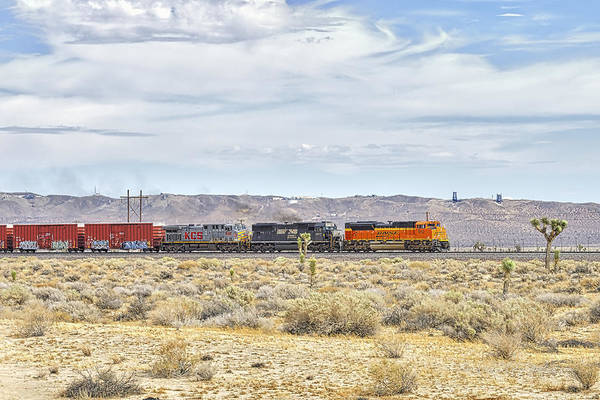 Photograph - Bnsf 9112 Westbound From Boron by Jim Thompson