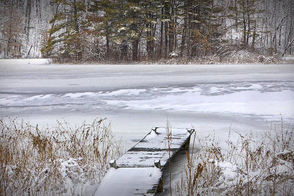 Photograph - Boat Dock In Winter by Randall Nyhof