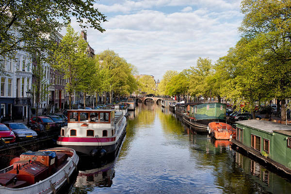 Houseboat Photograph - Boats On Amsterdam Canal by Artur Bogacki