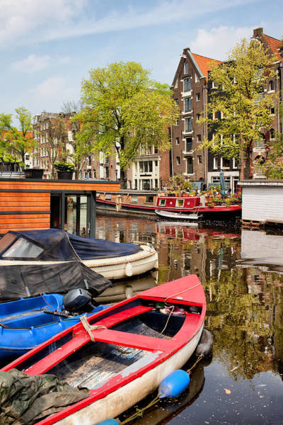 Houseboat Photograph - Boats On Canal In Amsterdam by Artur Bogacki
