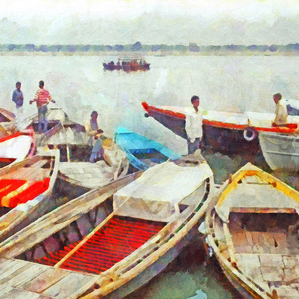 Digital Art - Boats On The Ganges River by Digital Photographic Arts