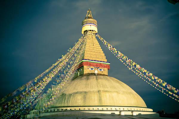 Bodhnath Stupa At Night In Kathmandu Art Print