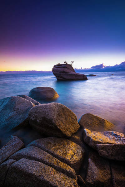 Wall Art - Photograph - Bonsai Rock At Sunset, Lake Tahoe by Russ Bishop