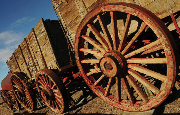 Furnace Creek Photograph - Borax Mining Wagon, Furnace Creek by Michel Hersen