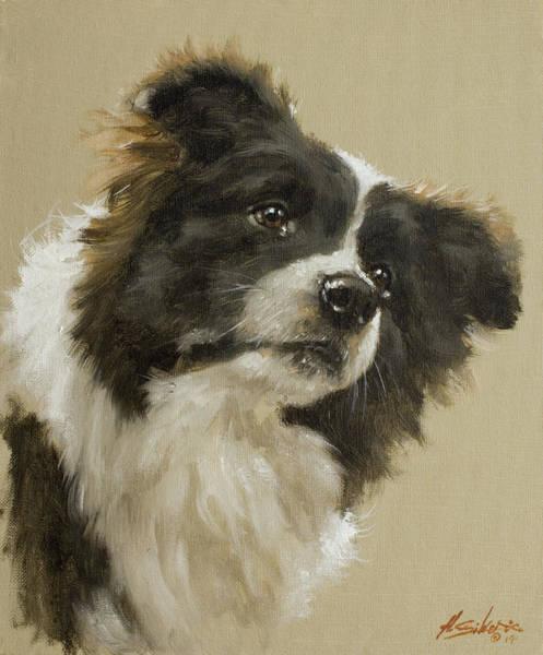 Border Collie Painting - Border Collie Portrait Vi by John Silver