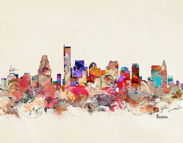 Boston Skyline Wall Art - Painting - Boston City Massachusetts by Bri Buckley