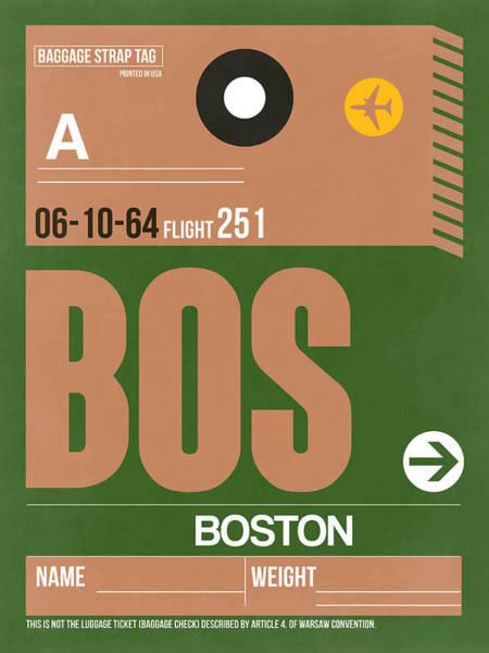 Travel Digital Art - Boston Luggage Poster 1 by Naxart Studio