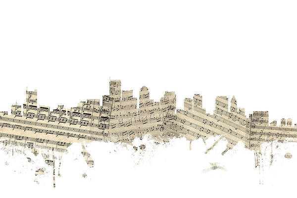 Boston Skyline Wall Art - Digital Art - Boston Massachusetts Skyline Sheet Music Cityscape by Michael Tompsett