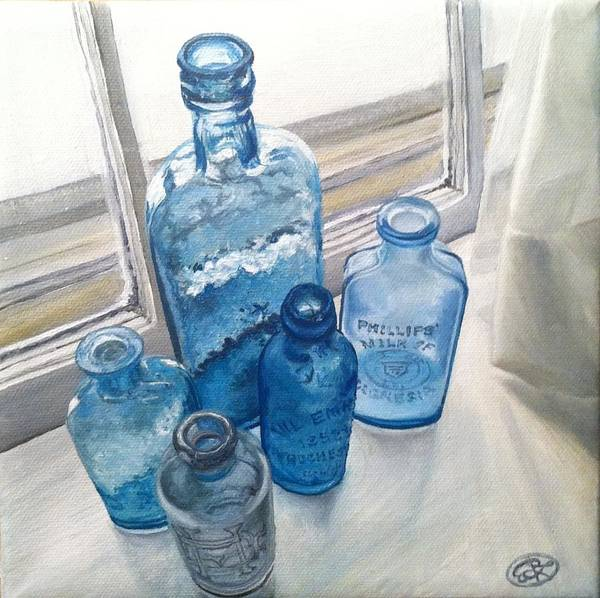 Still Life Wall Art - Photograph - Bottles In A Window by Emily Lee